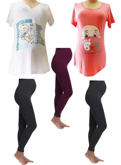 2 Blusas Más 3 Leggings De Maternidad