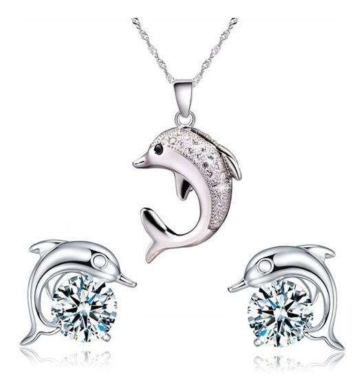 Regalo Collar Amor Corazón Hermoso Delfín Swarovski Elements