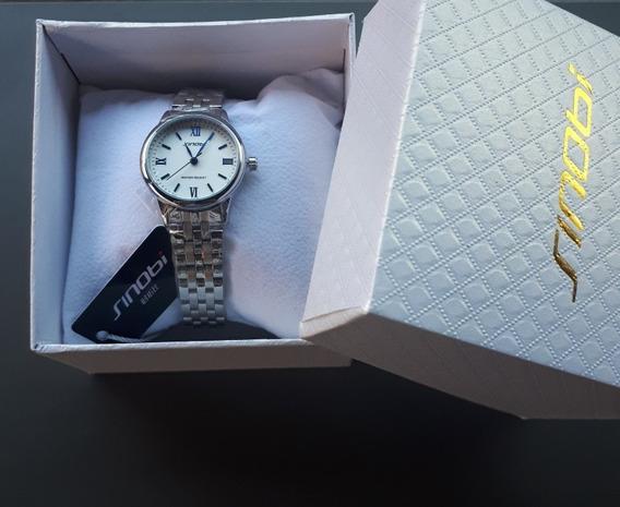 Relógio Feminino Prata Original Na Caixa Promoção + Brinde