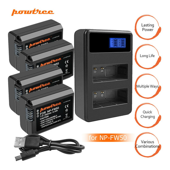 Kit 3 Bateria + Carregador Duplo Sony Alpha A6500 A6000 A7r A9 Nex-3 Alpha 7 Dsc-rx10 6300 6500 5100 A7si A7r Baterias