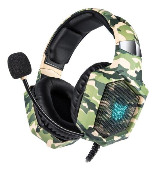 Fone de ouvido gamer Onikuma K8 camouflage green e rgb light
