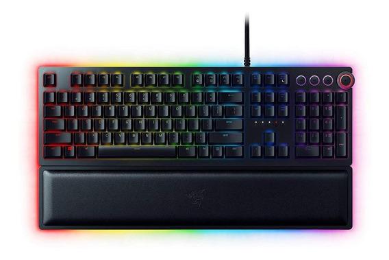 Teclado para pc QWERTY Razer Huntsman Elite Clicky español negro con luz RGB