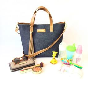 Bolsa Jeans E Couro Marrom Para Maternidade Mãe Premium