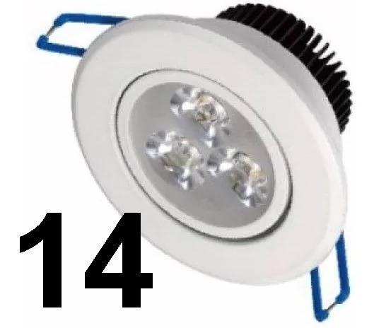 Kit14 Spot Led Branco Luz Frio Direcionável 3w Sanca Gesso