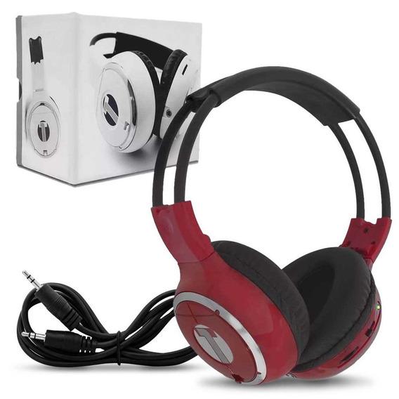 Fone De Ouvido Sem Fio Vermelho Headphone Infravermelho