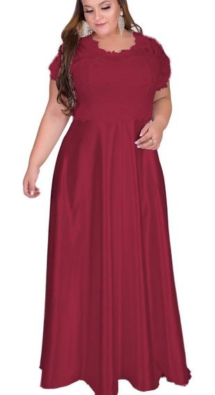 Vestido Festa Plus Size Longo Renda 46 A 60 #midoranoiva