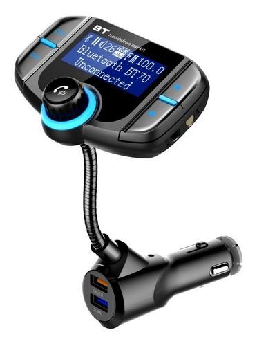 Imagen 1 de 10 de Transmisor Bluetooth Fm Doble Cargador Usb Manos Libres Aux