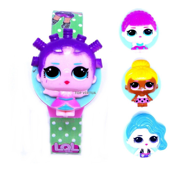 Relógio Digital Lol Bonecas Infantil Novidade Troca Tampas
