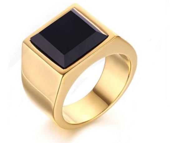 Anel Masculino Dourado Aço Inox Banhado Ouro 18k Comendador