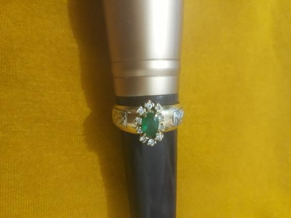 Anel De Formatura, De Ouro 18,pedra Verde
