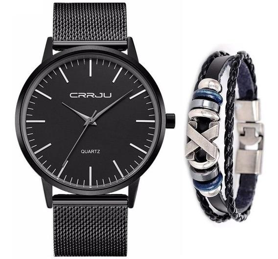 Relógio Masculino Social Ultra Fino De Luxo Preto + Pulseira