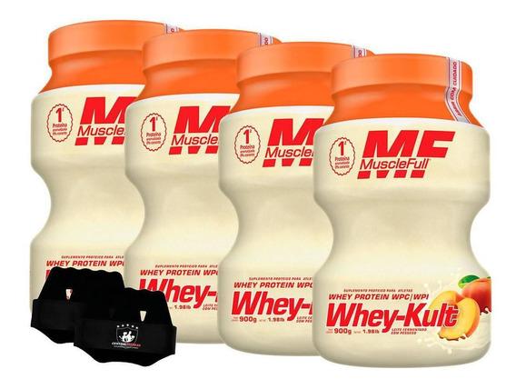 Kit 4x Whey Kult 900g Pêssego Muscle Full + Luva