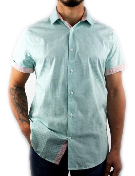 Camisa Para Hombre Manga Corta Estampada Con Lycra