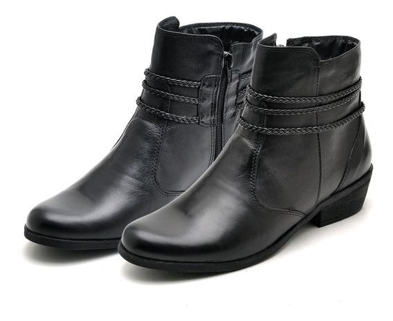 Botinha Feminino Estilo Ankle Boot Sem 100% Couro Legitimo