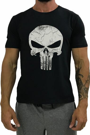 Camiseta Masculina Manga T-shirt Preta O Justiceiro Blusa