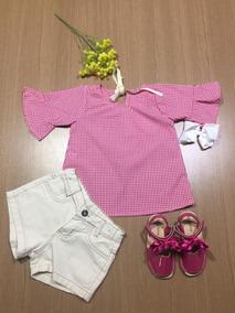 Roupa Menina Infantil Conjunto Batinha + Short Jeans 4 Ano&