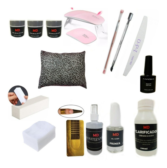Kit Completo De Uñas Gelificadas + Almohada + Cabina Uv