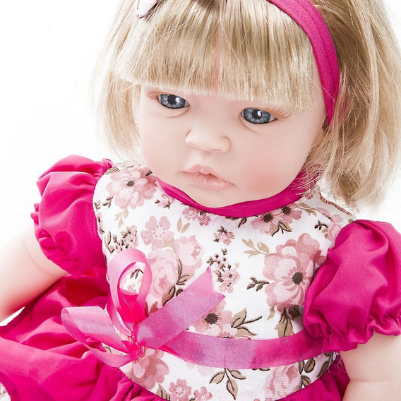 Boneca Baby Kiss Loira Menina Tipo Reborn Chora E Balbucia
