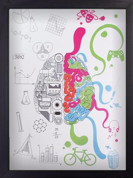 Quadro Cerebro Criativo A3 30x40 Decoração Arte Preto