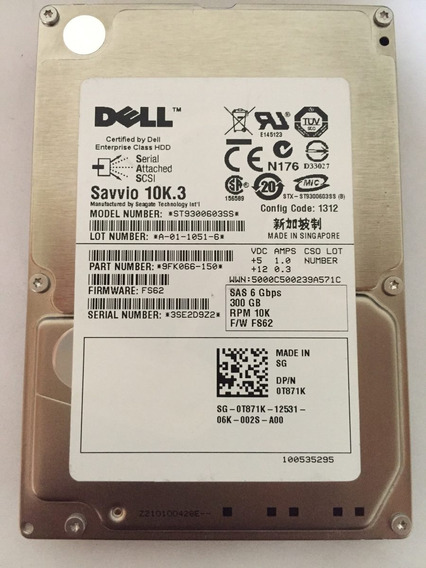 Hd Dell 300 Gb 10 K 6 Gbps Pn: 0t871k