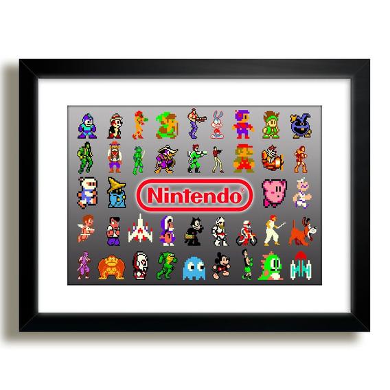 Quadro Super Mario Nintendo Game M41 Decoracao Moldura
