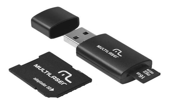 Cartão De Memoria 16gb Pendrive Usb2.0 Adaptador Multilaser