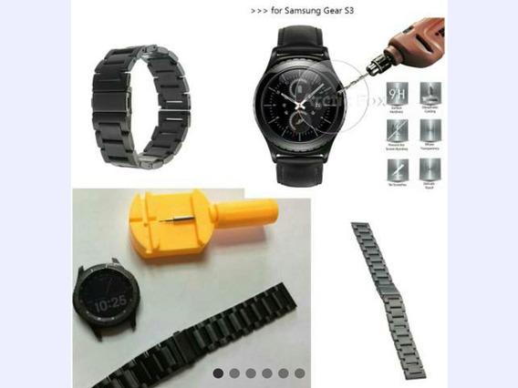 Kit Pulseira Aço Preta-prata+ Pelicula Vidro Samsung Gear S3