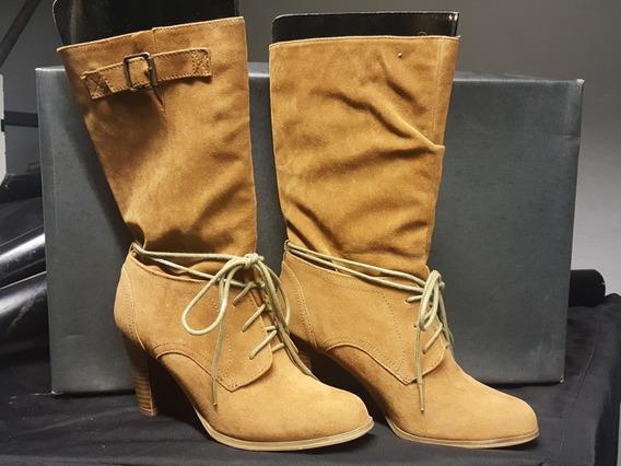 Botas Zara De Gamuza Acordonadas. Igual A Nuevas.