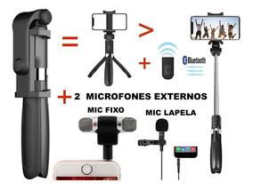 Pau Selfie Tripé Bluetooth+2 Microfones Fixo E Lapela Celul