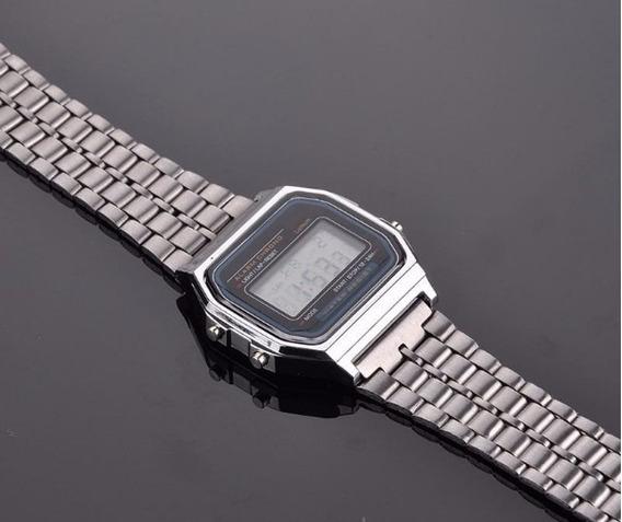 Relógio Digital Led Feminino Aço Inox Vintage Envio Rapido
