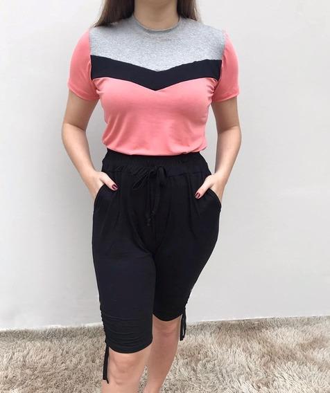 Conjunto Feminino Camiseta Recorte Tricolor E Bermuda Solta