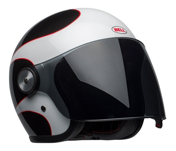 Capacete Bell Riot Boost White Black Red C/ Viseira Cristal