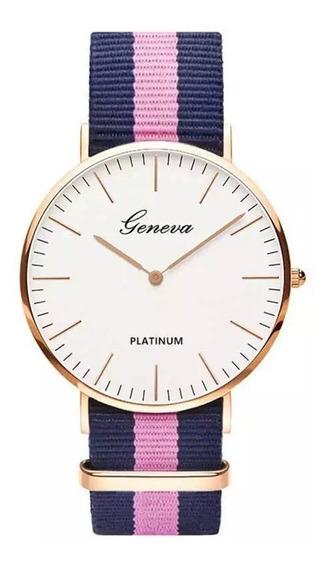 Relógio Feminino Dourado Geneva Redondo Pronta Entrega Prata