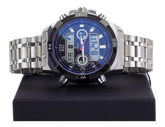 Relógio Masculino Em Aço Com Alarme Luz Data Cronometro