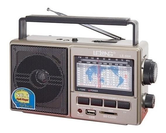 Radio Recarregavel Usb Mem Am Fm Sw Bivolt Lelong 604