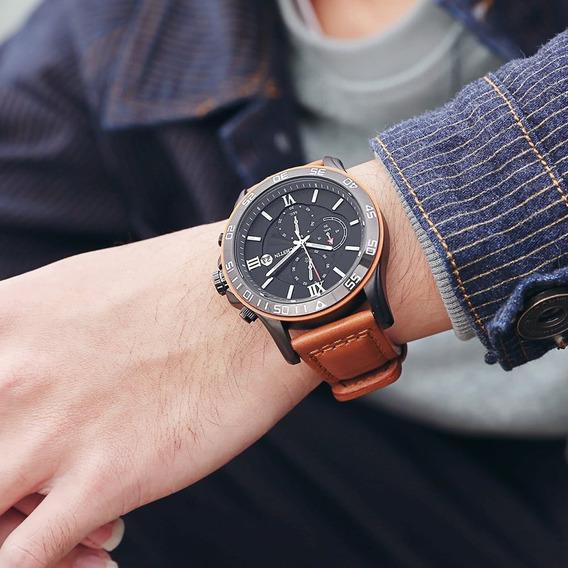 Relógio Ochstin 068a Top Marca De Luxo Pulseira De Couro Cx