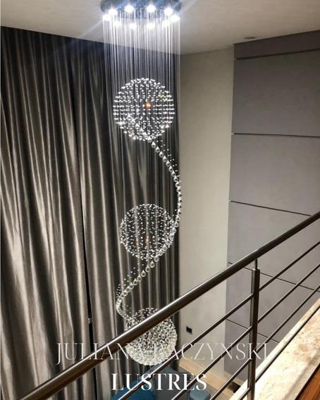 L62 Lustre De Cristal Tripla Esfera E Espiral 3m Escada