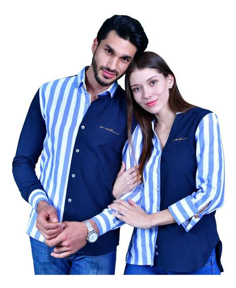 Duo De Camisas Porto Blanco Mujer O Hombre Novios Celeste
