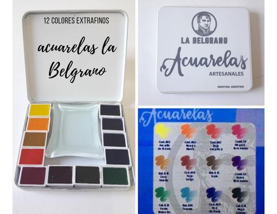 Acuarela. Set Profesional De 12 Colores La Belgrano