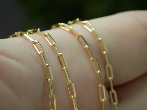 Corrente Cordao Masculina Cartier Banhado Ouro Garantia 2mm