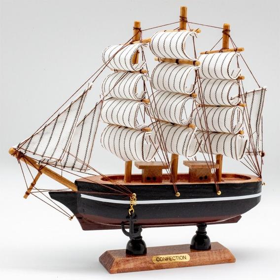 Barco Caravela Miniatura Decor Madeira Maciça Réplica 20cm