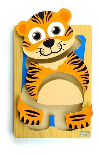 Imagen 1 de 2 de Rompecabezas Tigre 5 Piezas De Madera Pipikuku