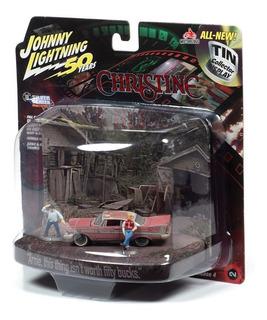 Christine Plymouth Fury Con Figuras Johnny Lightning 1/64