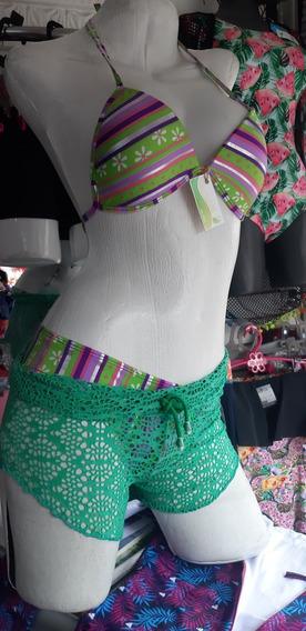 Super Promo!! Vestido De Baño Tres Piezas Con Pareo En Malla