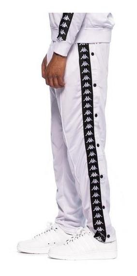 Pantalon Kappa Banda Astoria Snap Blanco Con Botones Flex