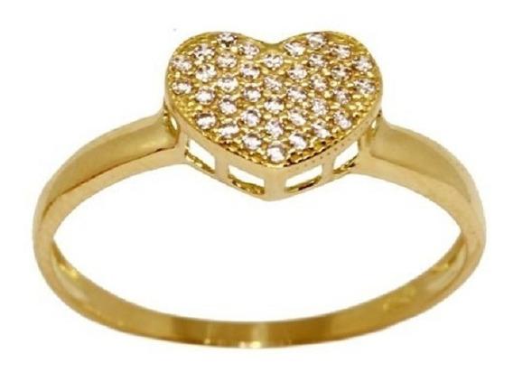 Anel Pave Coração Ouro 18k Zirconias Jsp1400