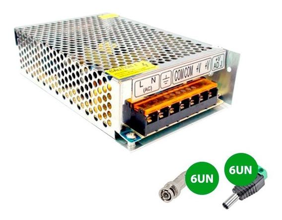 Conectores Bnc C/mola 6 Unidades + P4 6 Unidades + Fonte 10a