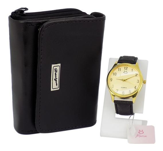 Kit Relógio Feminino Dourado + Carteira Barato 100% Original