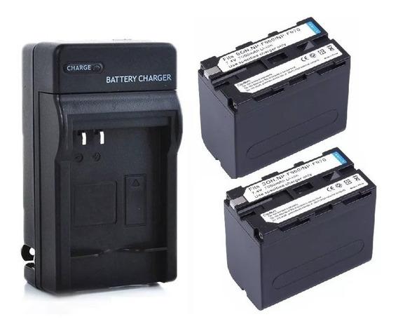 Kit 02 Baterias Np-f970 6600mah + 01 Carregador Np F970
