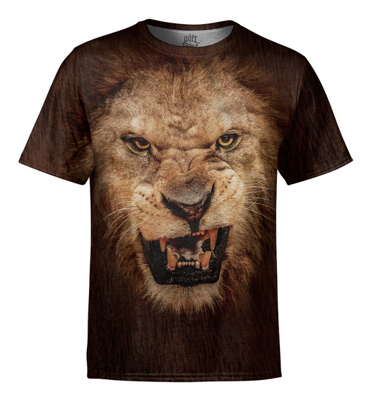 Camiseta Masculina Big Face Leão Estampa Digital